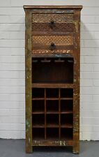 Carved Recycled Timber Country Wine Storage Cabinet Mini Bar Buffet Rustic Retro