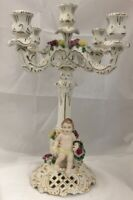 Antique Dresden Capodimonte Porcelain Figural 5 Light Candelabra Candle Holder