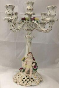 Antique Dresden Capodimonte Porcelain Figural 5 Light Candelabra Candle Holder