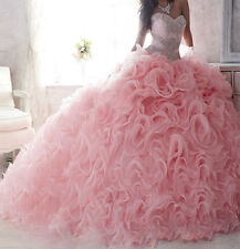 New Pink Quinceanera Dresses Ball Gown Formal Prom Party Wedding Dresses Custom