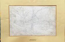 Armand POINT (1860-1932) crayon dessin original paysage maison dans les bois