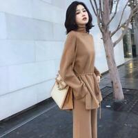 Winter Women's Cashmere Blend Knitted Sweater Highwaist Wide-leg Pants 2Pcs Suit