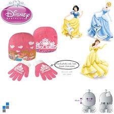 Disney Mädchen Handschuhe Mütze Winterset 2-teilig Princess mit PVC Flicken  NEU