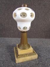 ANTIQUE 19c. SANDWICH GLASS WHITE OVERLAY ART GLASS OIL LAMP