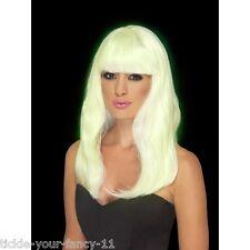 Women's Girls Long Glam Glow In The Dark Wig Fancy Dress Party Costume Accessory