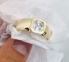 14k Solid Yellow Gold Asscher Cut Moissanite Mens Ring