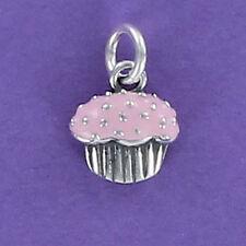 Cupcake Charm Sterling Silver for Bracelet Tiny Pink Enamel Sprinkles Jimmies
