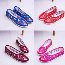 New Women Chinese Embroidered Floral Shoes Ballet Flat Cloth Slip On Folk