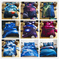 3D Galaxy Cotton Bedding Duvet Cover Set Quilt Cover Pillow Case Twin Queen Size