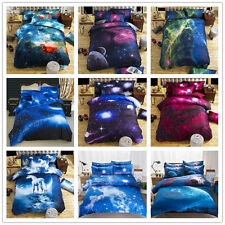 3D Galaxy Cotton Bedding Duvet Cover Set Quilt Cover Pillow Case Twin Queen Size
