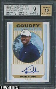2019 UD Goodwin Champions Goudey Golf Diamond Dealer Tiger Woods AUTO BGS 9