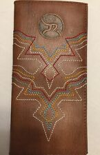 HOOey Western Mens Wallet Trifold Roughy Logo Crosshatch Diamond Brown 1781322W1