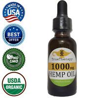 Hemp Oil Extract 1000mg Premium Organic 1oz Dropper Bottle Tincture Drops