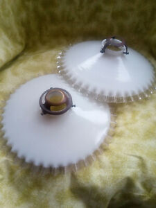 Pair of vintage white glass pendant lampshades