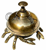 Antique Solid Brass Crab Design Front Desk Bell Retail Counter Warehouse Bell