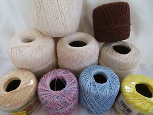 Crochet Threads 10 Mixed Colors Ecru Blue Brown Yellow Shaded Tan Multi Color