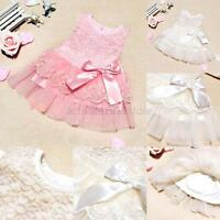Kids Girl Princess Party Wedding Cocktail Lace Floral One Piece Dress Tutu Skirt