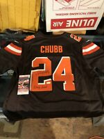 CLEVELAND BROWNS NICK CHUBB SIGNED/INSCRIBED NIKE AUTH JERSEY JSA WITNESS COA