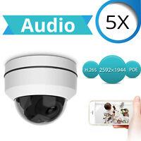 "5MP H.265 5x Zoom 2.5"" 48V POE PTZ Speed Dome ONVIF IP HD Camera Audio Sony CMOS"