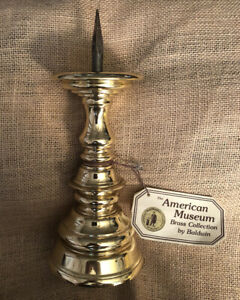 "Baldwin Williamsburg Single Brass Pillar Candle Holder With Spike 10"" Tall"