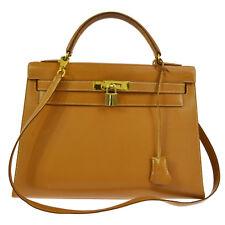 Authentic HERMES KELLY 32 2way Handbag Veau Barenia Gold Vintage GHW S03260