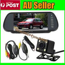 "Wireless Car Rear View 4 LED Reverse Camera 170º + 7"" LCD Monitor Mirror Kit AU"
