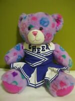 Build A Bear Purple Peace Sign and Hearts Pattern Cheerleader Plush - A2308