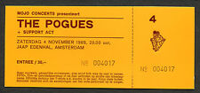 Original 1989 The Pogues unused full concert ticket Amsterdam Peace And Love