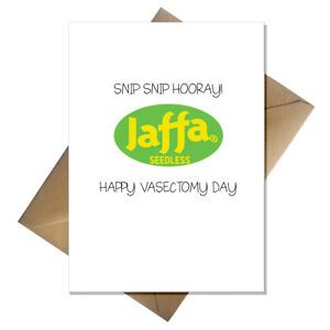Funny Vasectomy Card - Snip, Snip Hooray! Perfect get well for husband / friend