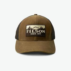FILSON 11030237 Logger Patch Mesh Back Tin Cloth Oil Finish Dark Tan Cap NEW