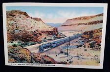 Santa Fe Train in Crozier Canyon, Arizona Linen Unused Paul Harvey H-1575 c.1940