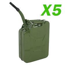 5 PCS Jerry Can 20L Liter (5 Gallons) Steel Tank Fuel Gas Gasoline Green w/Spout