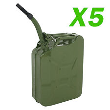 5 PCS Jerry Can 20L Liter (5 Gallons) Steel Tank Fuel Gasoline Green w/Spout