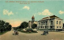 1907-1915 Postcard; Denkman Memorial Library & Augustana Blvd, Rock Island IL
