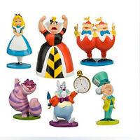 Alice In Wonderland 6 PCS Action Figure Doll Cake Topper Toy Hatter White Rabbit