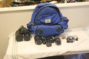 Chinon CP-6 Camera, Winder, 24mm, 300mm, 500mm reflex lenses and Camera Bag