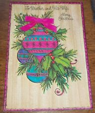 Vintage 1969 Christmas Card Ornaments Holly Swag real Ribbon/bow