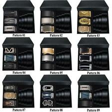 Boxed Mens Belts 3 Automatic Buckles 1 Black Leather Ratchet Strap Gifts For Man