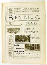 Stampa antica pubblicità BENINI & C. MACCIO VILLA GUARDIA Como 1903 Old print