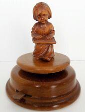 Vintage Mapsa Wood Rotating Music Box Girl Figurine Germany - Edelweiss [video]