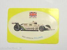 VECCHIO ADESIVO F1 / Old Sticker ALAN JONES WILLIAMS GREAT BRITAIN (cm 9 x 6)
