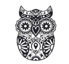 CROSS STITCH KIT -  BLACKWORK OWL  14 X 20 CM