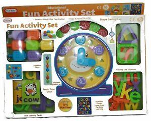 FunTime Kids Teach Time Activity Set w/ Teach Time Clock, Alphabet Blocks & More