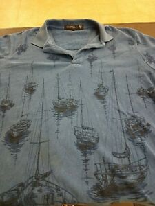 Vintage Nautica Mens Polo Golf Shirt Classic Sailboat All over print 2 Button M