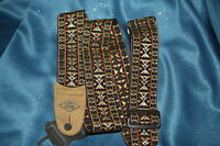 """2"""" Poly Web Hootenanny Style Strap, with Brown Leather Ends by LM, PS-3H-O"""