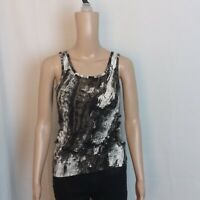 Mossimo Womens Tank Top Size S Brown Black Abstract Scoop Neck Sleeveless