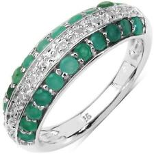 1.12 CT ROUND GREEN EMERALD SEMI-ETERNITY RING .925 STERLING SILVER