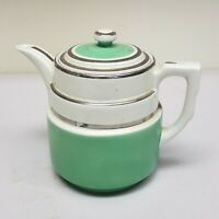Vintage Hall Art Deco Teapot Green And Silver