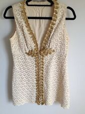 Vintage Antique Dress Top Crochet Gold Sequined Ornate Beautiful Gogo Retro 60s