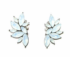 White Silver Faux Opal Art Deco Earrings 1920s Diamante Stud Great Gatsby 1707